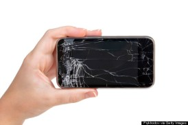 broken phone in a female hand